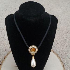Ben Amun Black Cord Orange White Drop Necklace